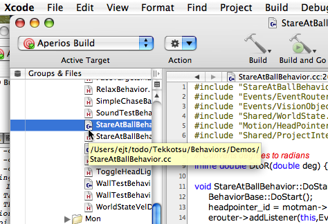 selecting the StareAtBallBehavior.cc source file